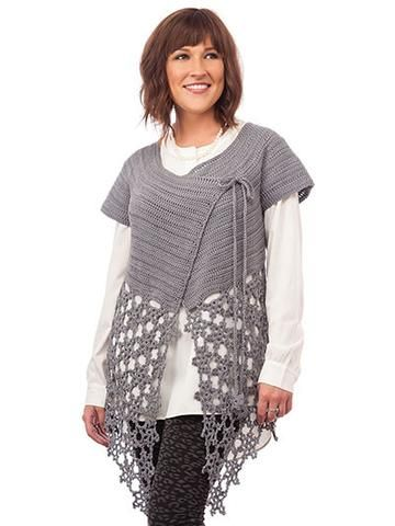 La Luna Cardigan Crochet Pattern Leaflet ~ intermediate level ~ sizes S, M, L, XL,2XL, 3XL ~ looks gorgeous in this pewter colour ~ CROCHET
