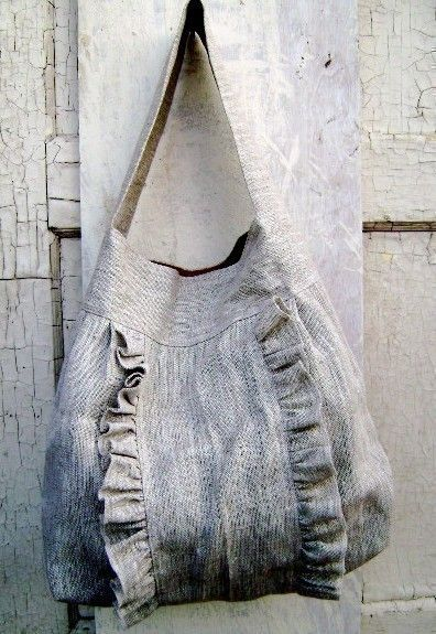 Sewing inspiration...i can make this myself.  I love the ruffle detail.  French Market bag on etsy $69
