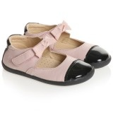 Girls Pink Two Tone Shoe with Bow