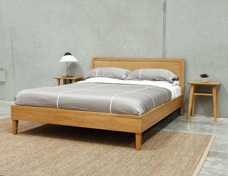 copenhagen queen size solid european oak bed frame by bent design studio