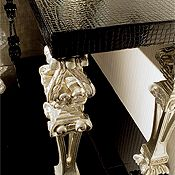 BLACK GLASS & CARVED SILVER LEAF TABLE A900TS - EMBOSSED LEATHER AND SILVER CONSOLE TABLE ART 10350