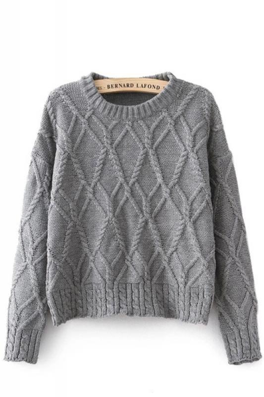 Круглый шею длинным рукавом пуловер свитер