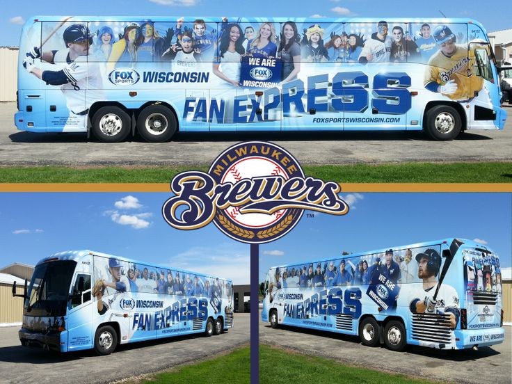 Full vinyl bus wrap for fox sports wisconsin installed and for Budget motors of wisconsin