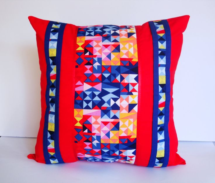 "Red Geometric Cushion Cover Decorative Pillow Cover  Size 16"" x 16"" or 40 cm x 40 cm Multicolour colourful Throw Pillow Made in Australia (32.00 AUD) by AddaSplashofColour"