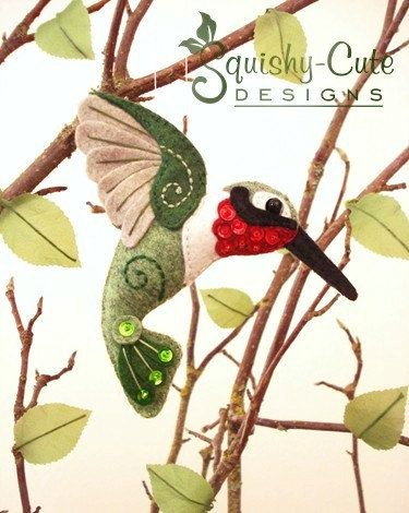 Patrón de costura de Colibrí PDF aves de por SquishyCuteDesigns