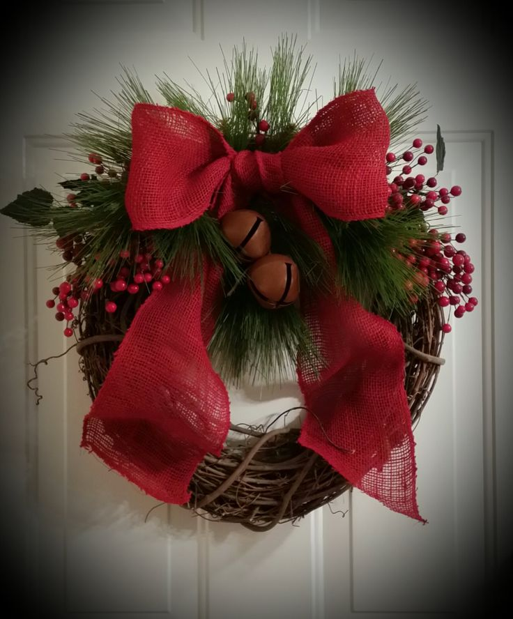 Christmas Grapevine Wreath Primitive Rustic Traditional Cranberry Red by TheChicyShackWreaths on Etsy
