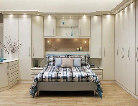 Built In Wardrobe, Closet, Or Storage Around The Bed. Small Bedroom   Light  And White. This Is Kind Of Dated Looking, But Like The Idea Of Added Storage .