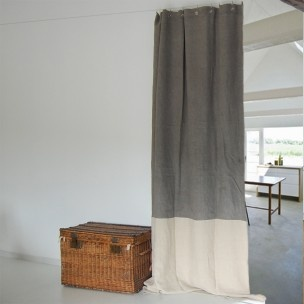 Dyed linen curtains in grey and neutral
