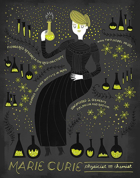 Women in Science : Marie Curie Illustrated Art Print | Rachel Ignotofsky