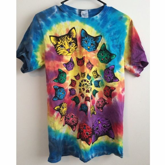 Tie Dye Cat TShirt NWOTGroovy Meow! This tie dye shirt features a swirl of rainbow cats on the front with a plain back to it. Never worn!New without tags! Tops Tees - Short Sleeve