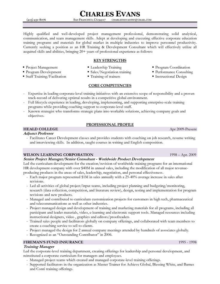 Training Manager Resume http//www.resumecareer.info