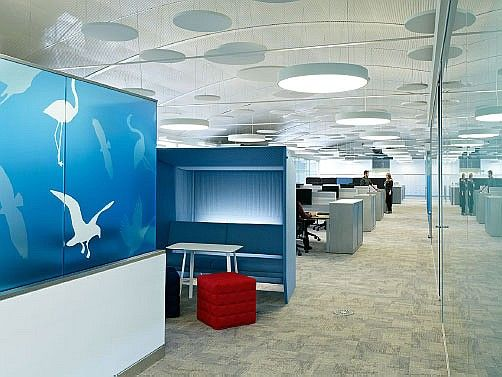 Beautiful color accents throughout Astellas Pharma Europe offices.