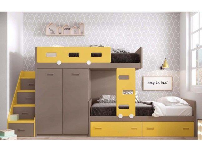 Chambre Avec Lit Superpose Fille Et Lit Gigogne Personnalisable F220 Glicerio Lit Superpose Lit Superpose Escalier Et Chambre Ado Lit