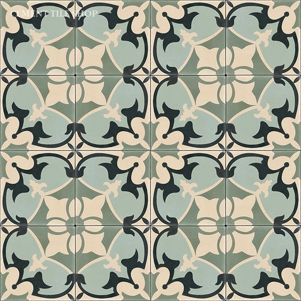 "Original Mission Tile via Cement Tile Shop. ""Sofia"". 8x8. $7.40 / tile. Coordinating solid tile $4.60 / tile."