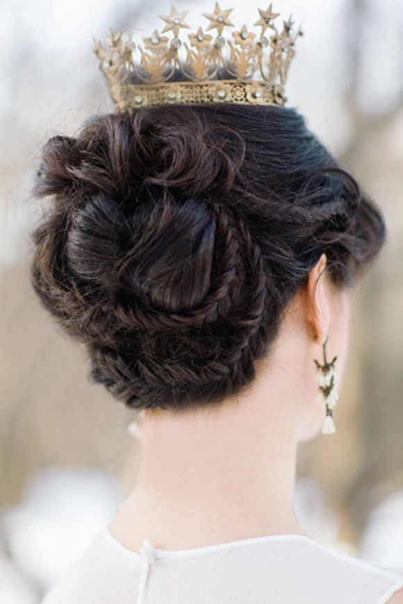 Snow white princess and her crown. I love this braided updo because it looks so nice on black hair. Braided hairstyles usually look better on blonde hair. But this is gorgeous