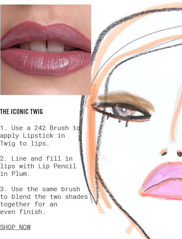 THE ICONIC TWIG. 1. Use a 242 Brush to apply Lipstick in Twig to lips. 2. Line and fill in lips with Lip Pencil in Plum. 3. Use the same brush to blend the two shades together for an even finish. SHOP NOW