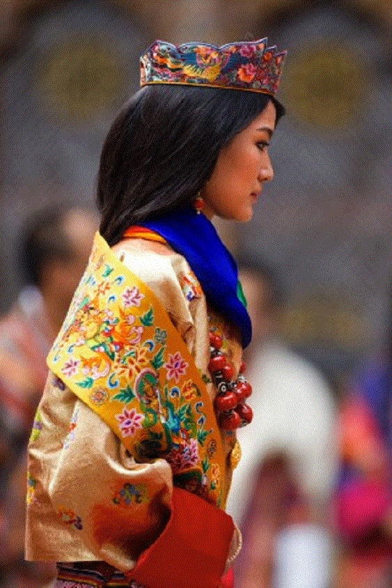Silk brocade crown worn on Queen Jetsun Pema after she married at the Punakha Dzong in Punakha, Bhutan on 13 Oct 2011