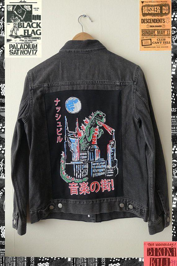 1d63511c4897 Veste en jean Godzilla patch punk