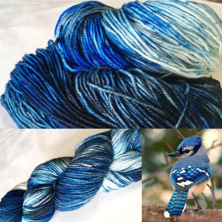 Blue Jay on 80/20 sock yarn. Visit songbirdfibres.bigcartel.com