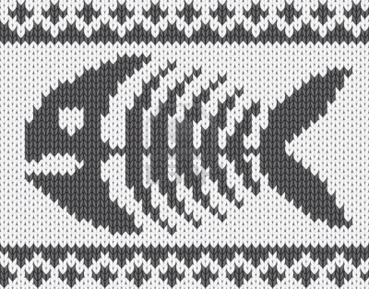 Knitted pattern with fish skeleton.