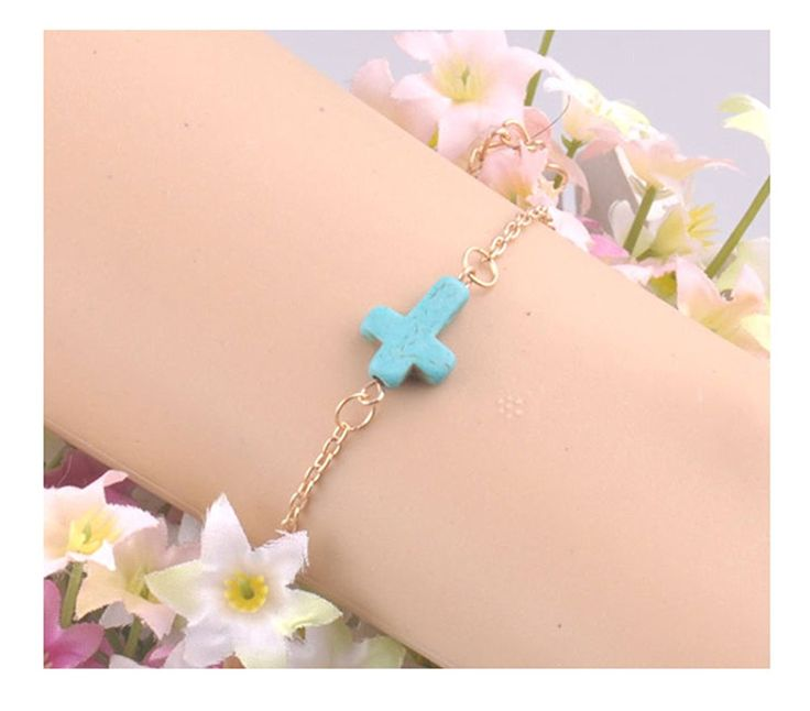 * Penny Deals * - Gift for the Loved New Fashion Women's Gold Plated Chain Blue Turquoise Cross Cuff Bracelet Jewelry -- Check out the image by visiting the link.