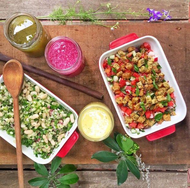 Veja como preparar panzanella melancia, salada de feijão fradinho com vinagrete de abacaxi e três sucos deliciosos