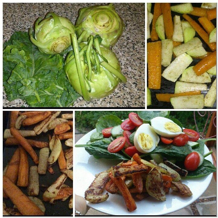 First time I saw this veggie #kohlrabi tastes a bit like radish raw but roasted it taste like broccoli.  Dinner _ roasted kashmiri kohlrabi and carrot with a spinach greek salad