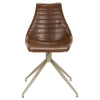 Lynette Midcentury Modern Leather Swivel Dining Chair Light Brown/Brass - Safavieh