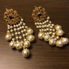 Multi string Pearl drop earrings