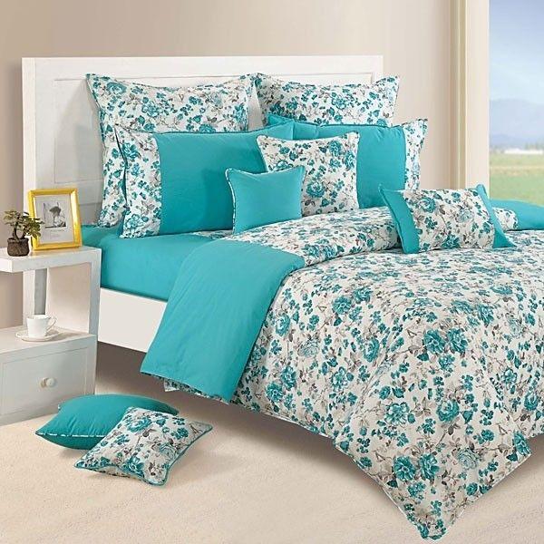 Aqua Floral Duvet Covers, Comforters & Quilts-Shades of Paradise-2711