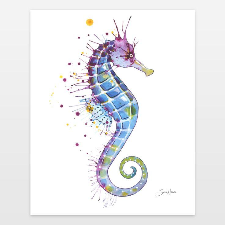 Seahorse - Purple Art Print by samnagel on BoomBoomPrints