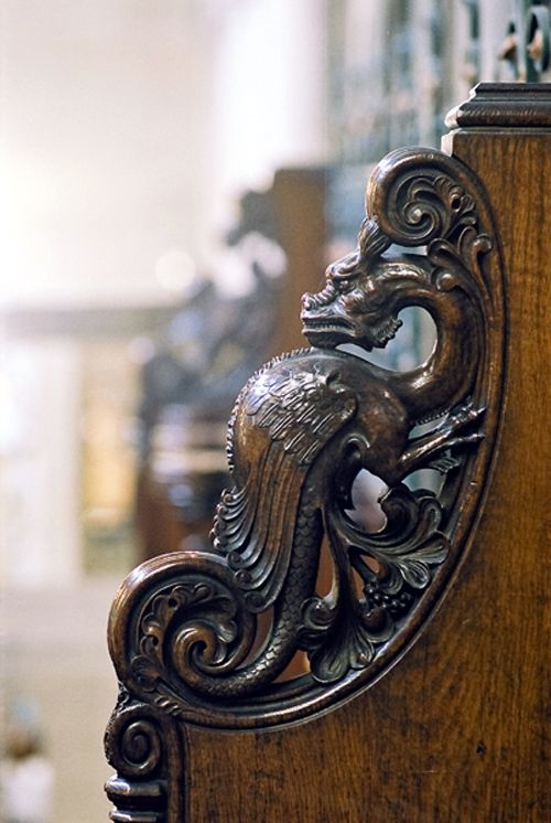All Souls Church, detail of carving on a choir stall.