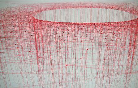 rerylikes:  池内晶子|Akiko Ikeuchi. Knotted Thread-Red, 2009. silk thread Photo: Mai Hashimoto @東京都現代美術館|Museum of Contemporary Art Tokyo (viaplphny:rob-art)