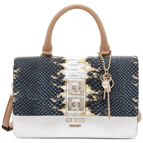 Guess Pierce Top Handle Flap Shoulder Bag 98 Liked On Polyvore Featuring Bags Handbags Python Structured Purse Gues
