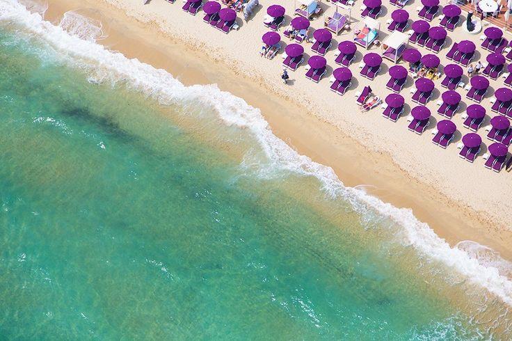 Floating in the Mediterranean/ Purple Umbrellas Saint Tropez/ Saint Tropez Tahiti Club