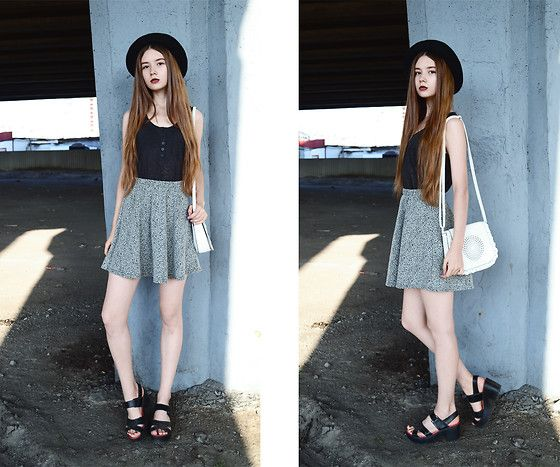 Topshop Fedora Hat, Zara Grey Top, New Look Grey Skirt, Sheinside Aztec Bag, Topshop Sole Sandals