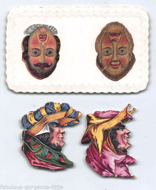 Victorian Scraps Upside Down Optical Illusion Faces 2 on Card Embossed Jester   eBay