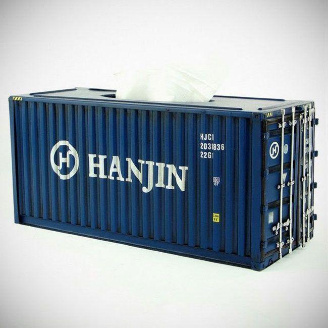Коробка для салфеток в виде морского контейнера #КОРОБКА #САЛФЕТКИ #КОНТЕЙНЕР