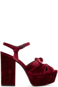 b7d937bf4cc8 Saint Laurent - Red Velvet Farrah Bow Sandals