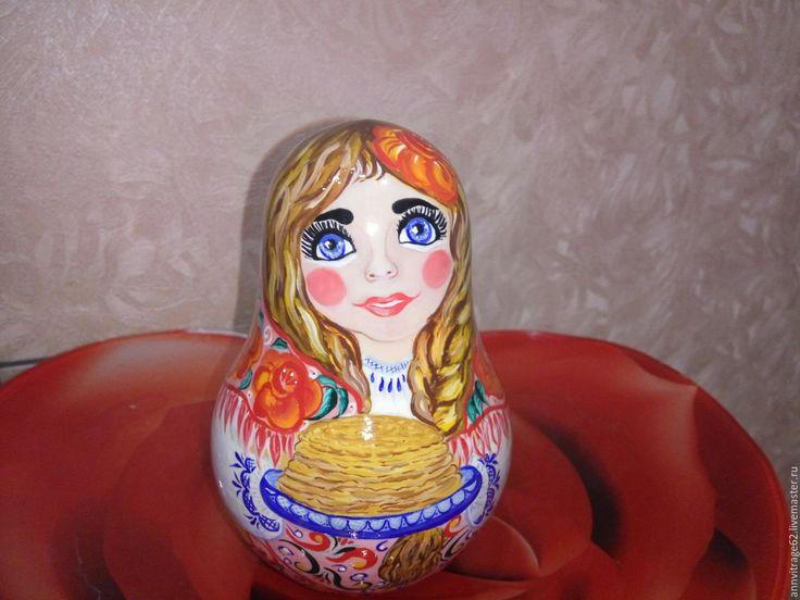"""Купить Неваляшка - матрёшка крупная, музыкальная"""" Масленица"""" - Роспись по дереву, сувенира и подарки, матрешка музыкальная"""