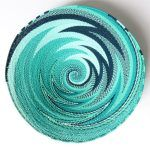 African Zulu woven telephone wire bowl – Large shallow bowl – Turquoise