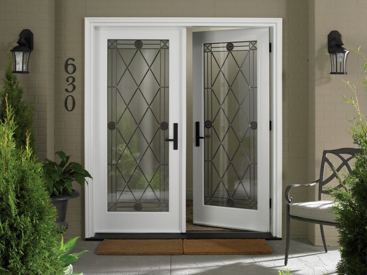 Exterior Classic Exterior Decoration Using White Oak Wood Double Door Fram