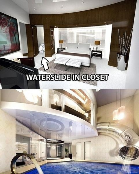 So cool! Water slide from bedroom to indoor pool: Ideas, Dreams Home, Dreams Houses, Awesome, Water Slides, Front Doors, Bedrooms Closet, Water Sliding, Waterslid