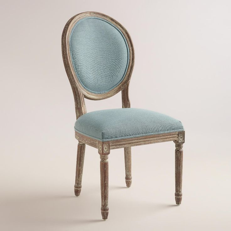 Blue Linen Paige Round Back Dining Chairs