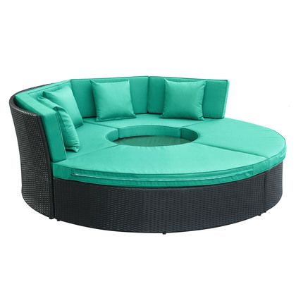 Modway Pursuit Circular Daybed Set in Espresso Turquoise