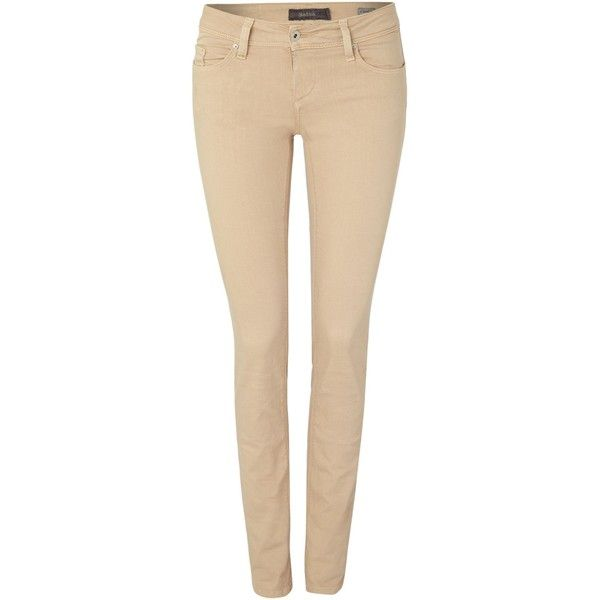 Salsa Slim fit push up wonder jean in beige ($73) ❤ liked on Polyvore featuring jeans, pants, bottoms, pantaloni, trousers, beige, clearance, beige skinny jeans, beige jeans and mid-rise jeans