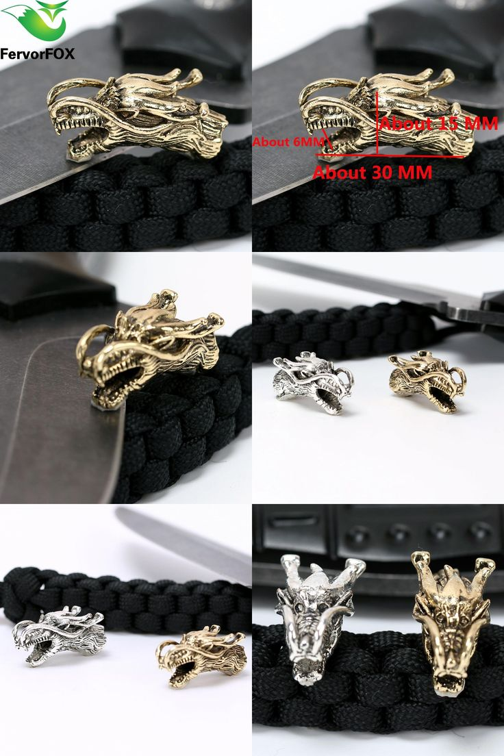 [Visit to Buy] 1PC Chinese dragon Metal Beads Camping Alloy For Outdoor Knife Bracelet DIY Paracord Accessories #Advertisement