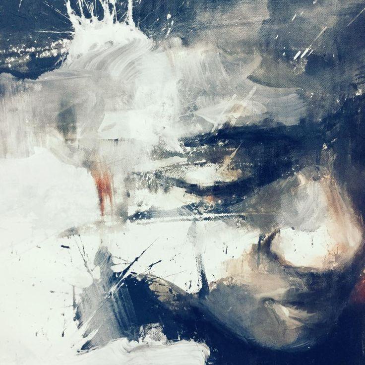 """Pensieri Posati""  |Portrait's  detail | Oil on canvas | acrylic  Christopher Veggetti"