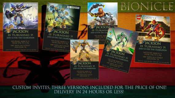 Hey, I found this really awesome Etsy listing at https://www.etsy.com/ca/listing/510334127/lego-bionicle-birthday-invitation