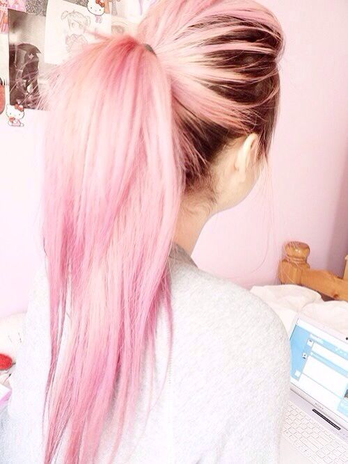 Pink with dark roots
